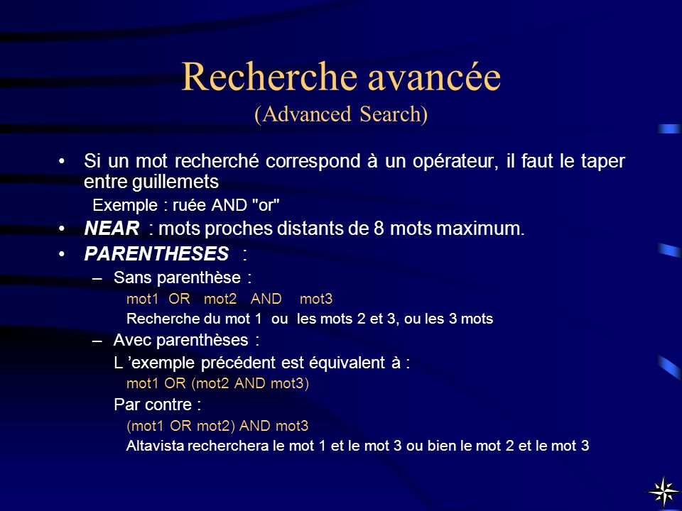 Recherche avancée (Advanced Search)