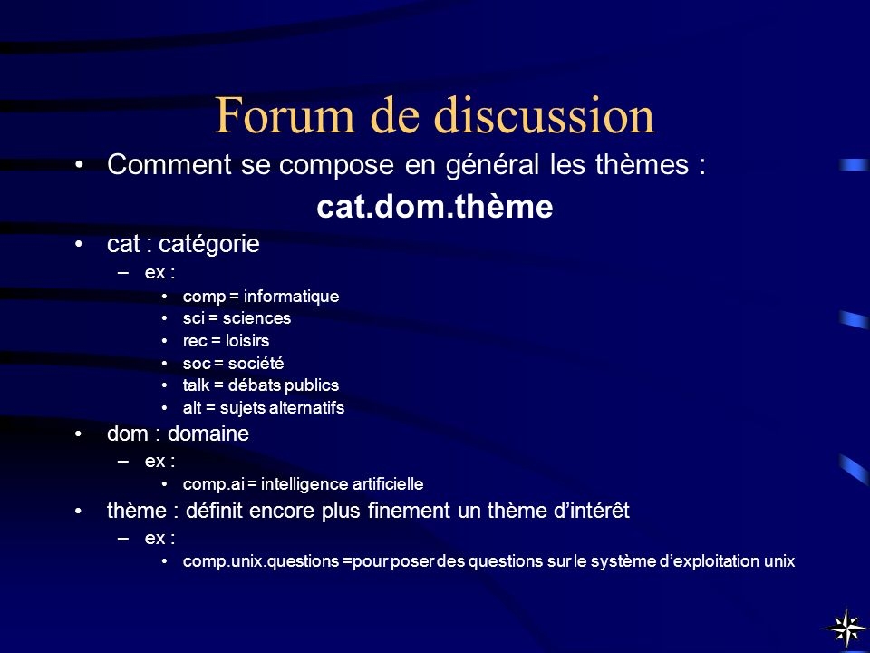 Forum de discussion cat.dom.thème