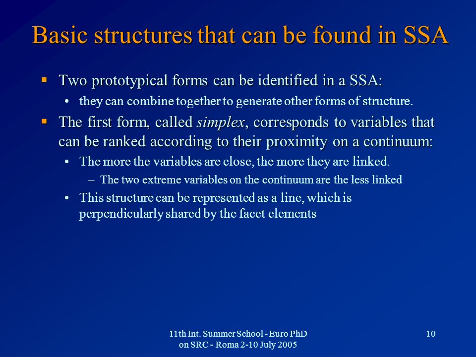 Basic structures that can be found in SSA