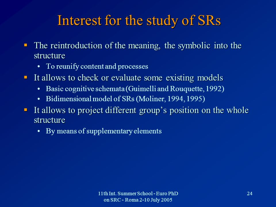 Interest for the study of SRs