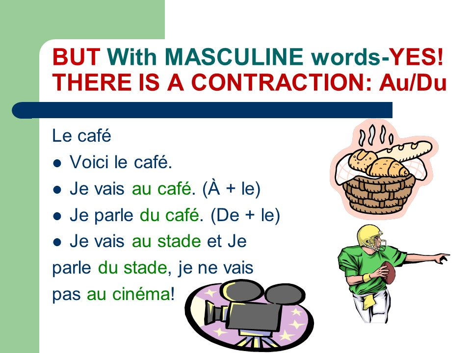 BUT With MASCULINE words-YES! THERE IS A CONTRACTION: Au/Du
