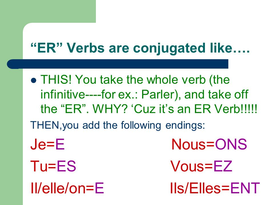 ER Verbs are conjugated like….