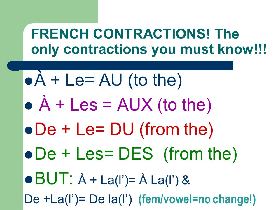 FRENCH CONTRACTIONS! The only contractions you must know!!!