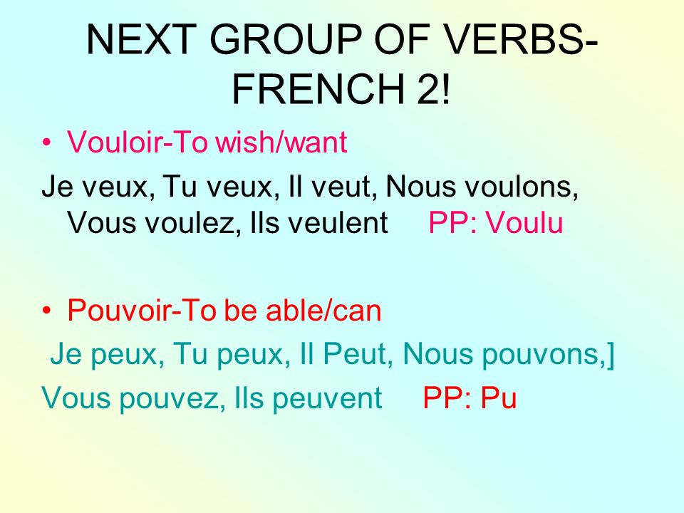 NEXT GROUP OF VERBS-FRENCH 2!