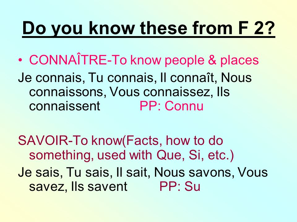 Do you know these from F 2 CONNAÎTRE-To know people & places