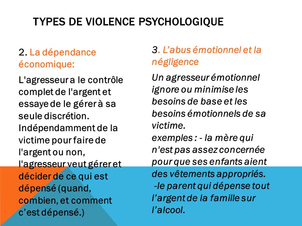 Types de violence psychologique