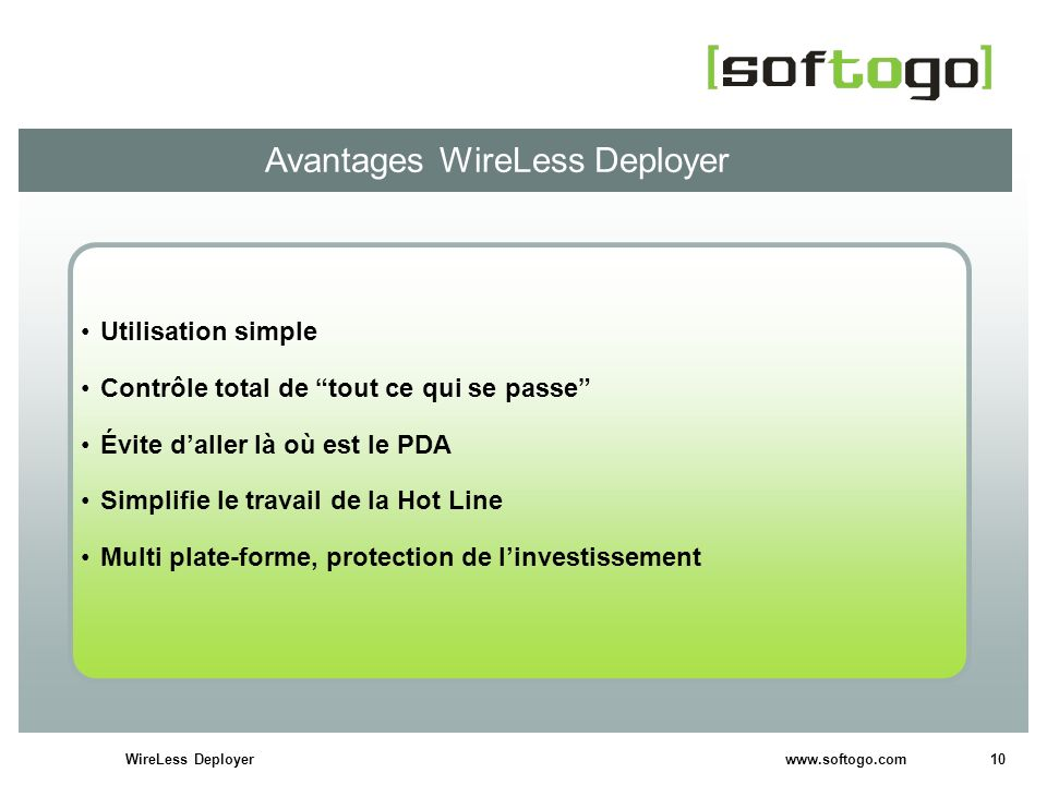 Avantages WireLess Deployer