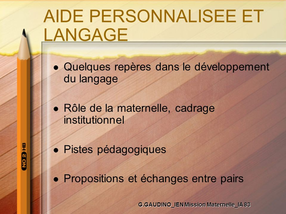AIDE PERSONNALISEE ET LANGAGE