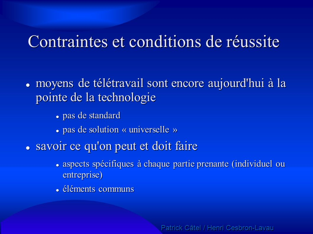 Contraintes et conditions de réussite