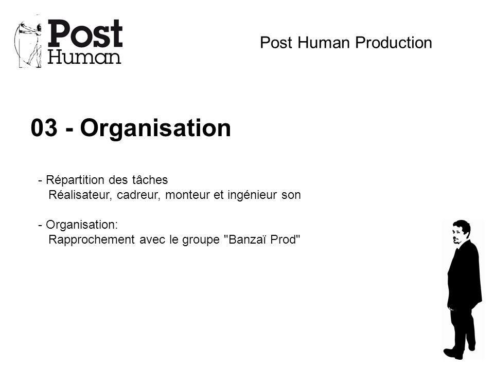 03 - Organisation Post Human Production - Répartition des tâches