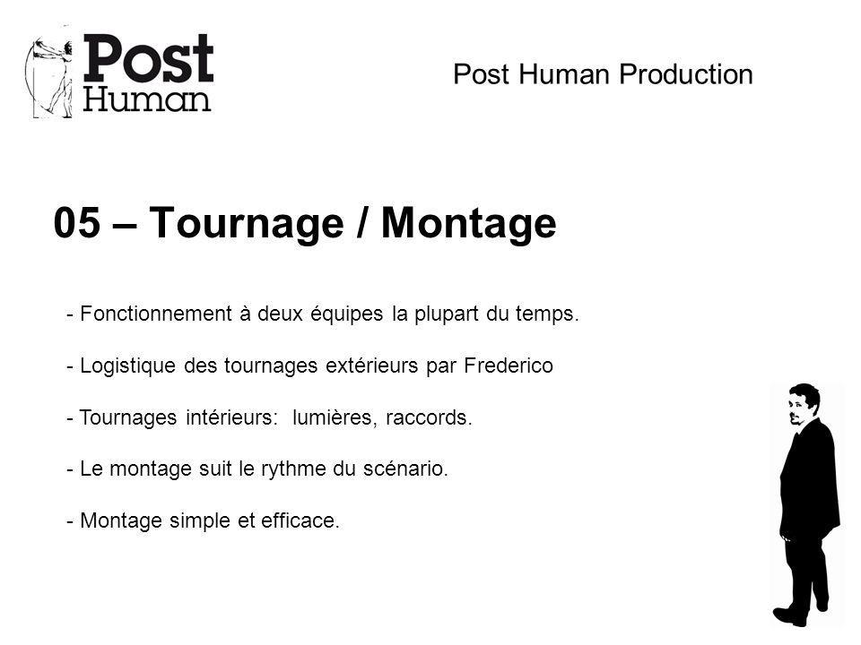 05 – Tournage / Montage Post Human Production