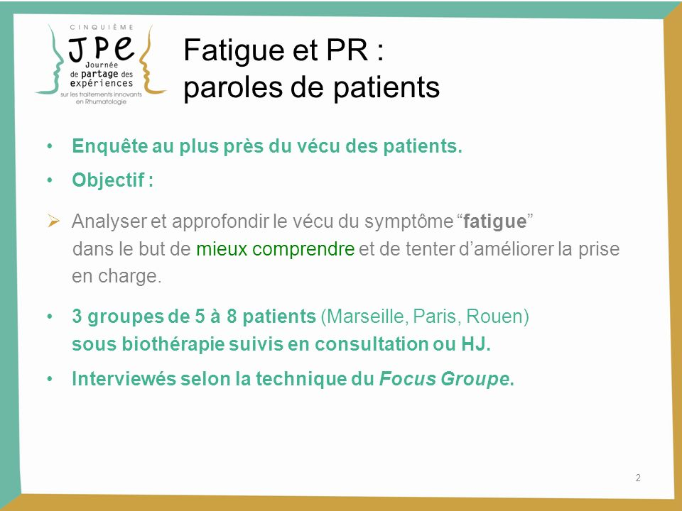 Fatigue et PR : paroles de patients