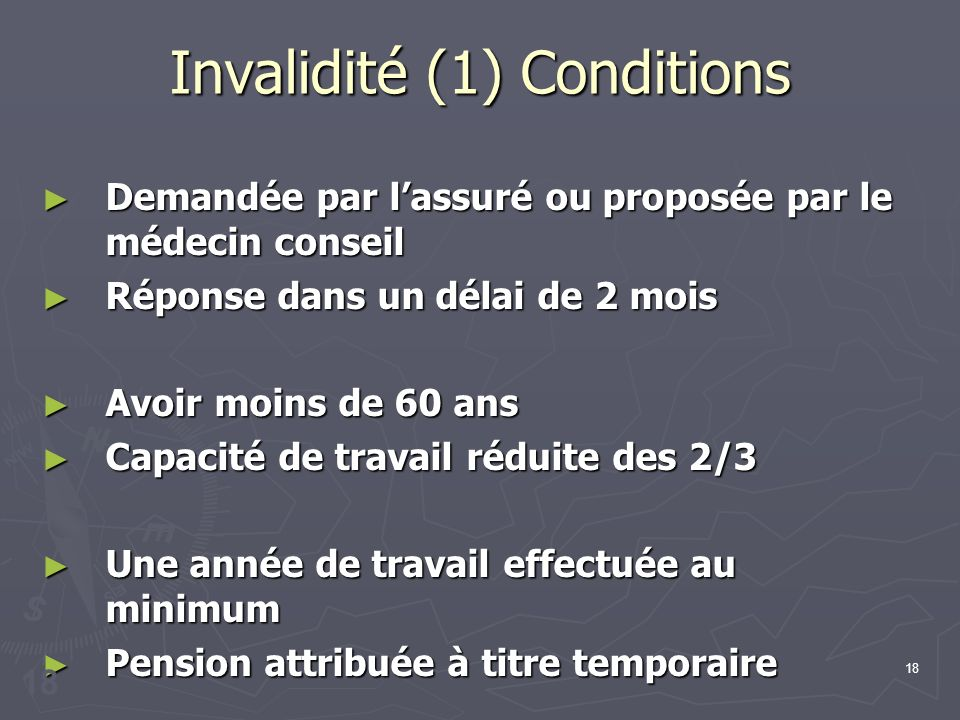 Invalidité (1) Conditions