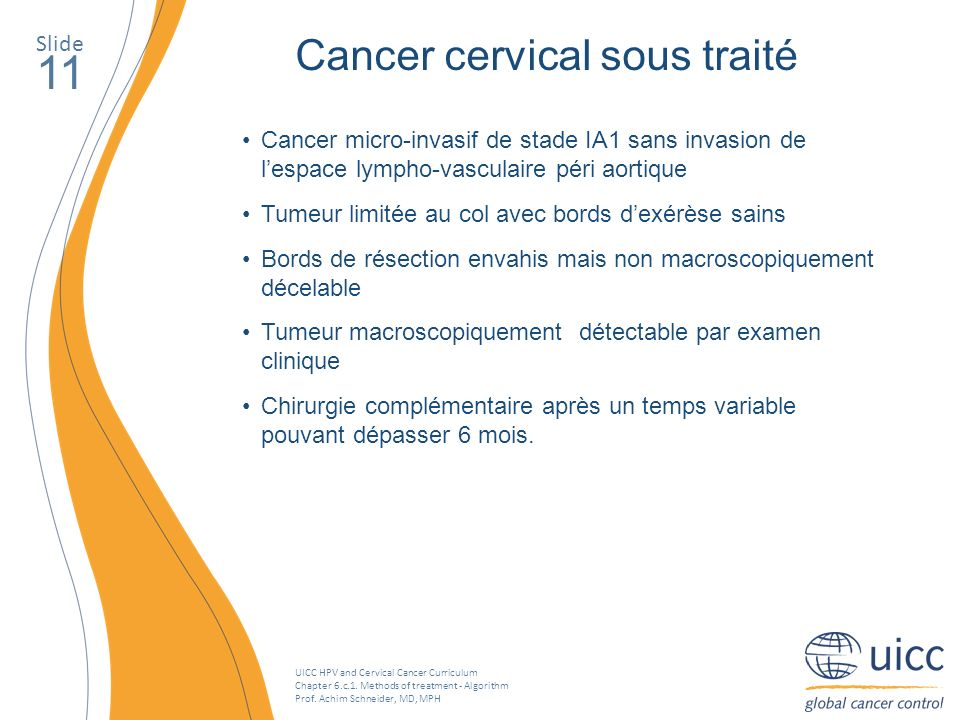 11 Cancer cervical sous traité Slide