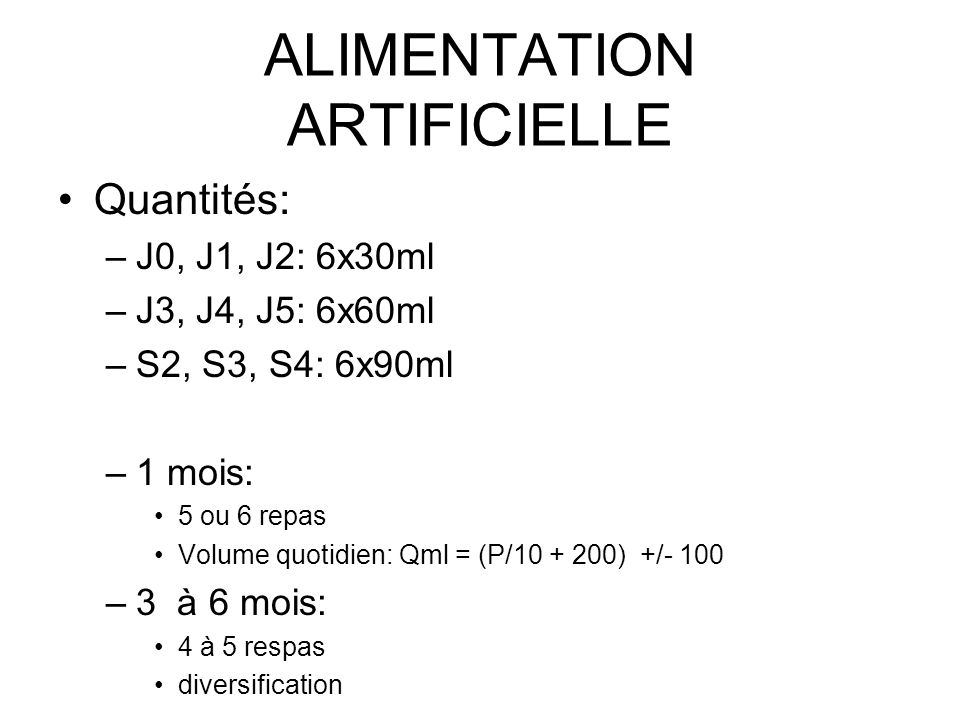 ALIMENTATION ARTIFICIELLE