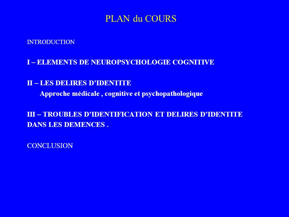 PLAN du COURS I – ELEMENTS DE NEUROPSYCHOLOGIE COGNITIVE