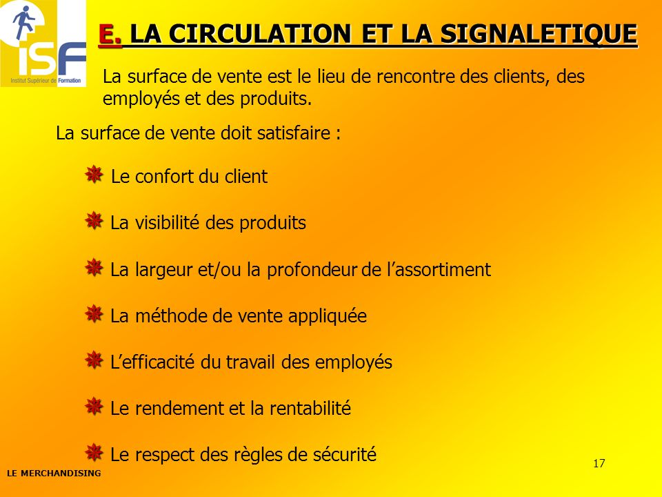 E. LA CIRCULATION ET LA SIGNALETIQUE