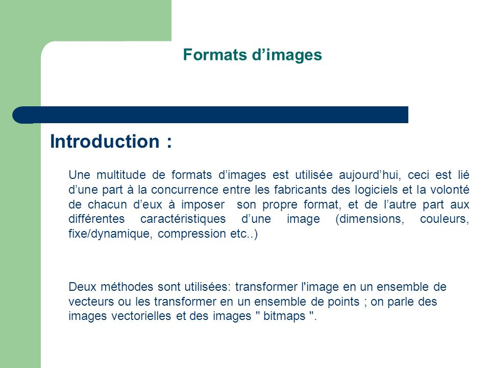 Introduction : Formats d'images