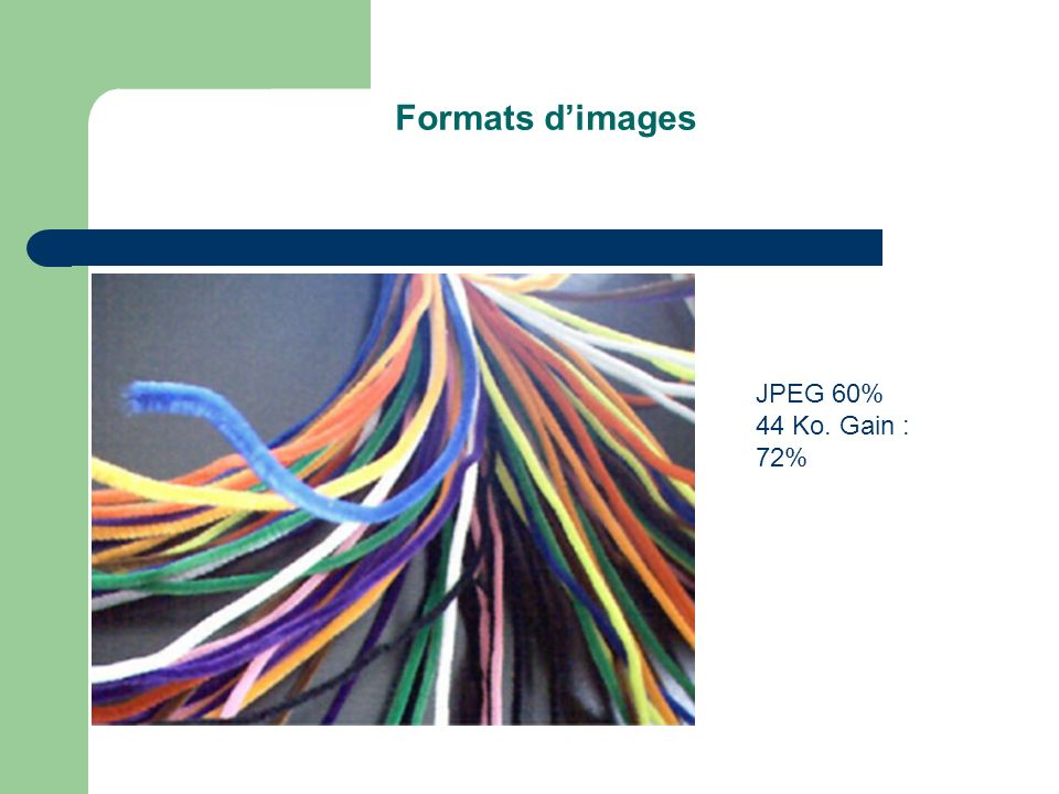Formats d'images JPEG 60% 44 Ko. Gain : 72%