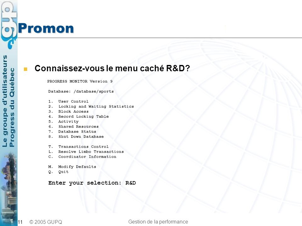 Promon Connaissez-vous le menu caché R&D PROGRESS MONITOR Version 9