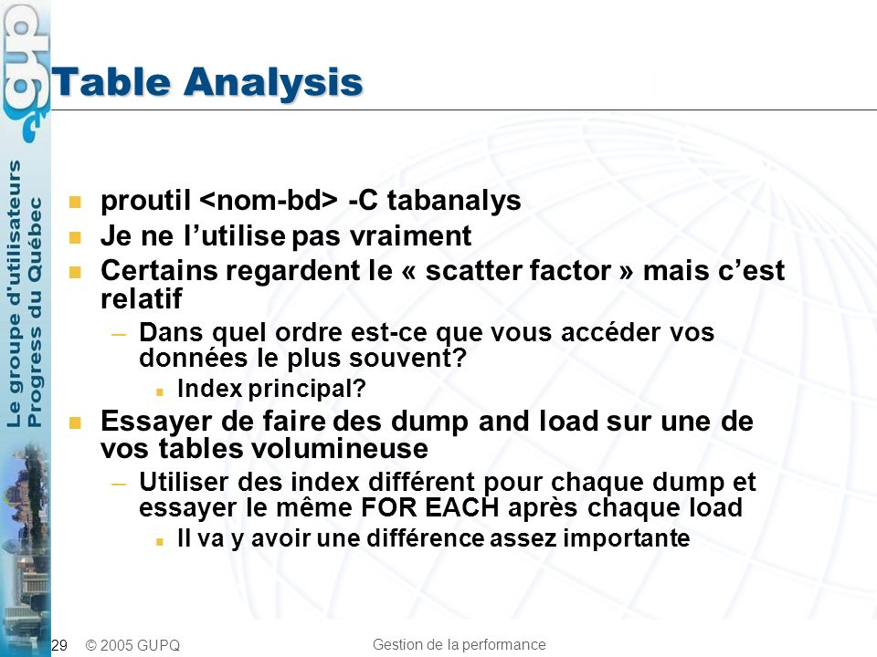 Table Analysis proutil <nom-bd> -C tabanalys