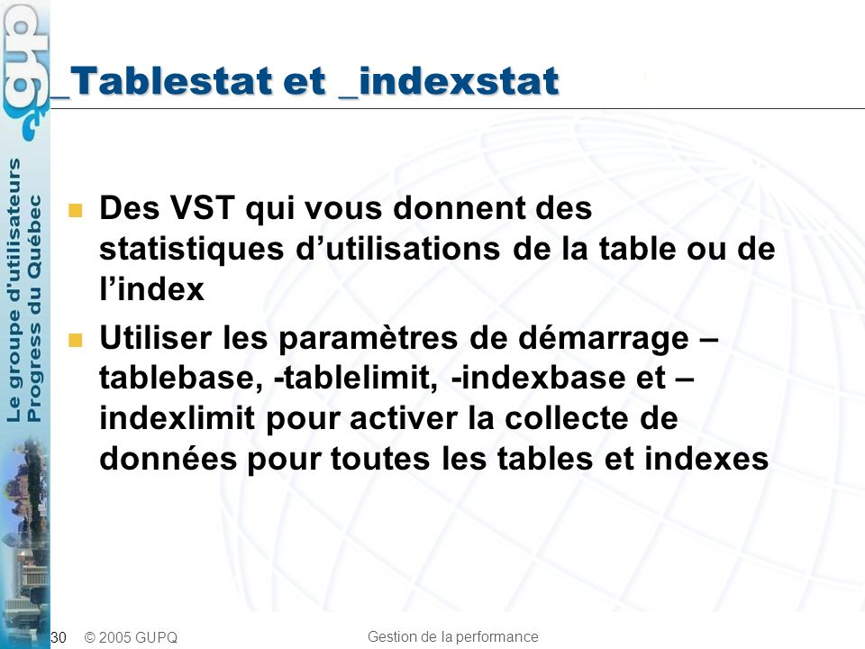 _Tablestat et _indexstat