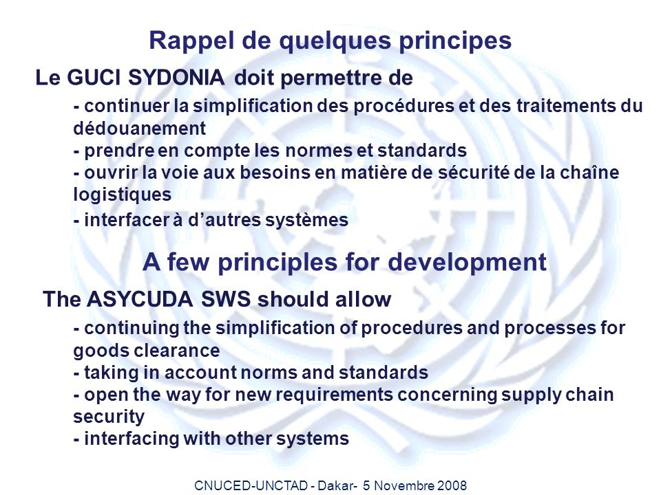Rappel de quelques principes A few principles for development