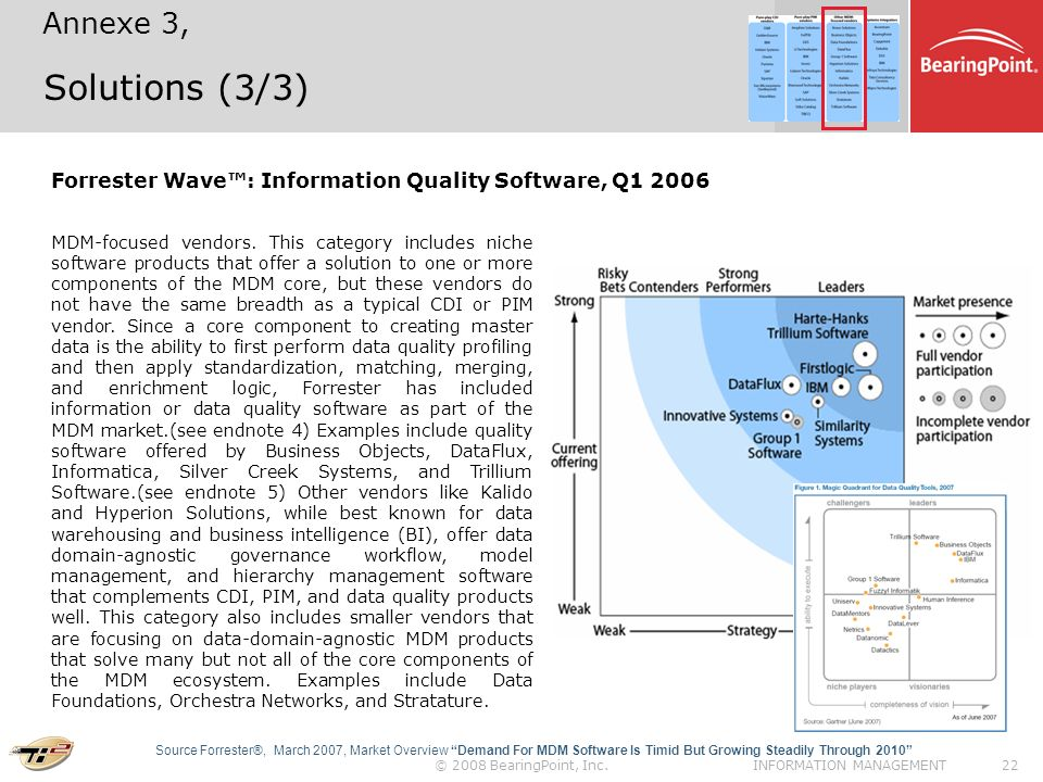 Annexe 3, Solutions (3/3) Forrester Wave™: Information Quality Software, Q
