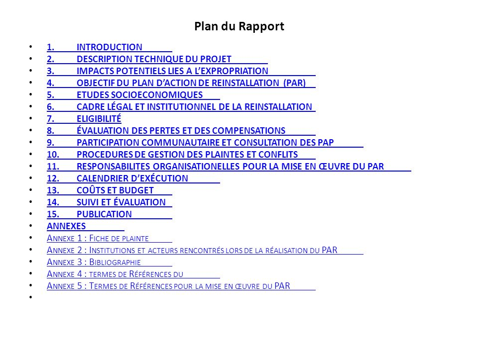 Plan du Rapport 1. INTRODUCTION 2. Description technique du projet
