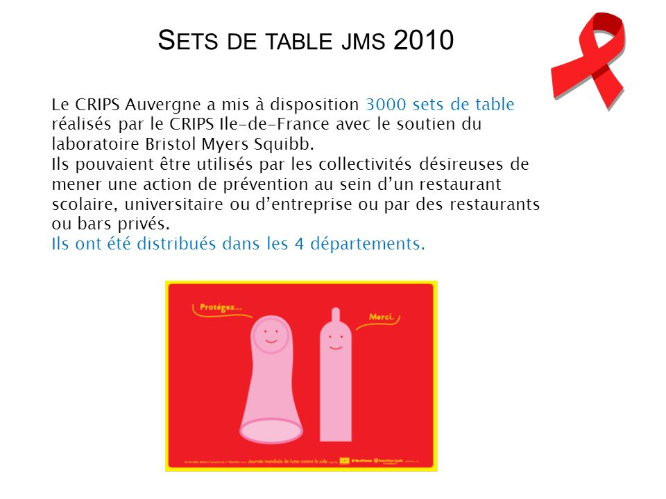 Sets de table jms 2010
