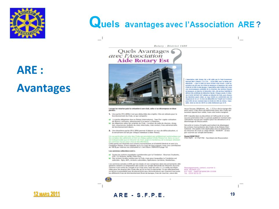 Quels avantages avec l'Association ARE