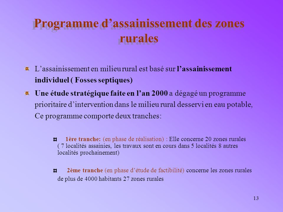 Programme d'assainissement des zones rurales