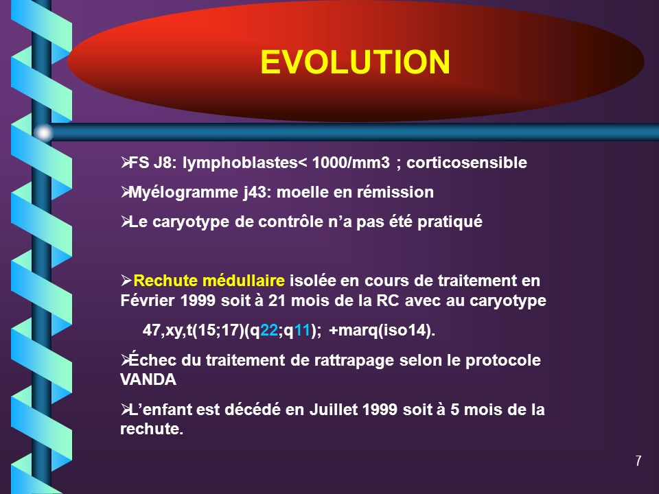 EVOLUTION FS J8: lymphoblastes< 1000/mm3 ; corticosensible