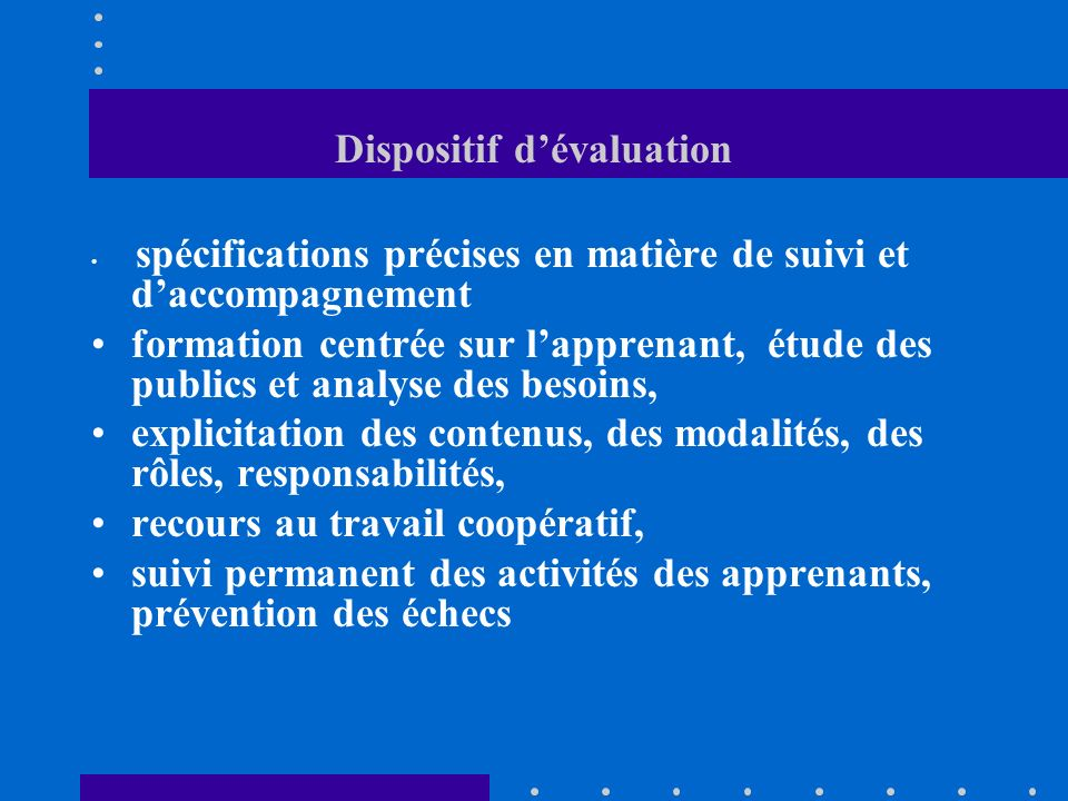 Dispositif d'évaluation