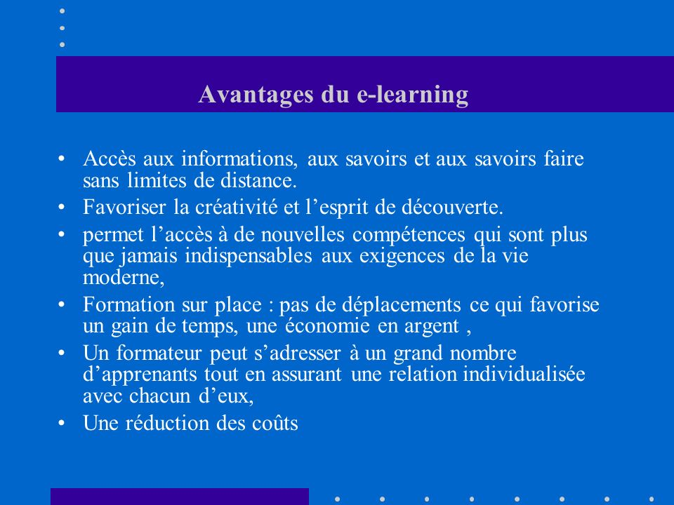 Avantages du e-learning