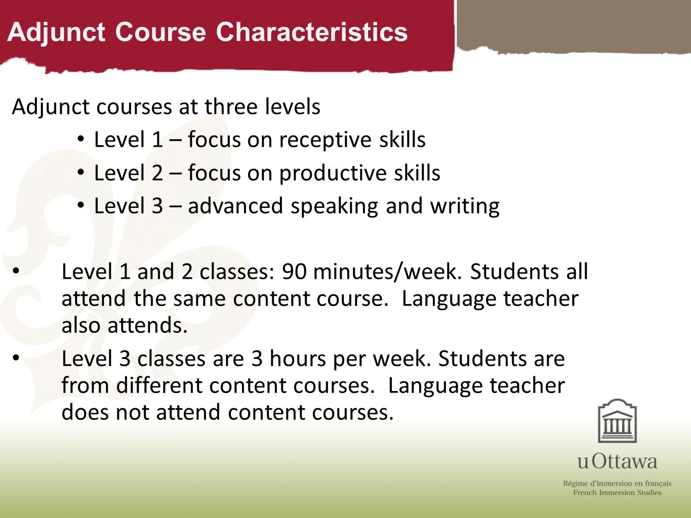 Adjunct Course Characteristics