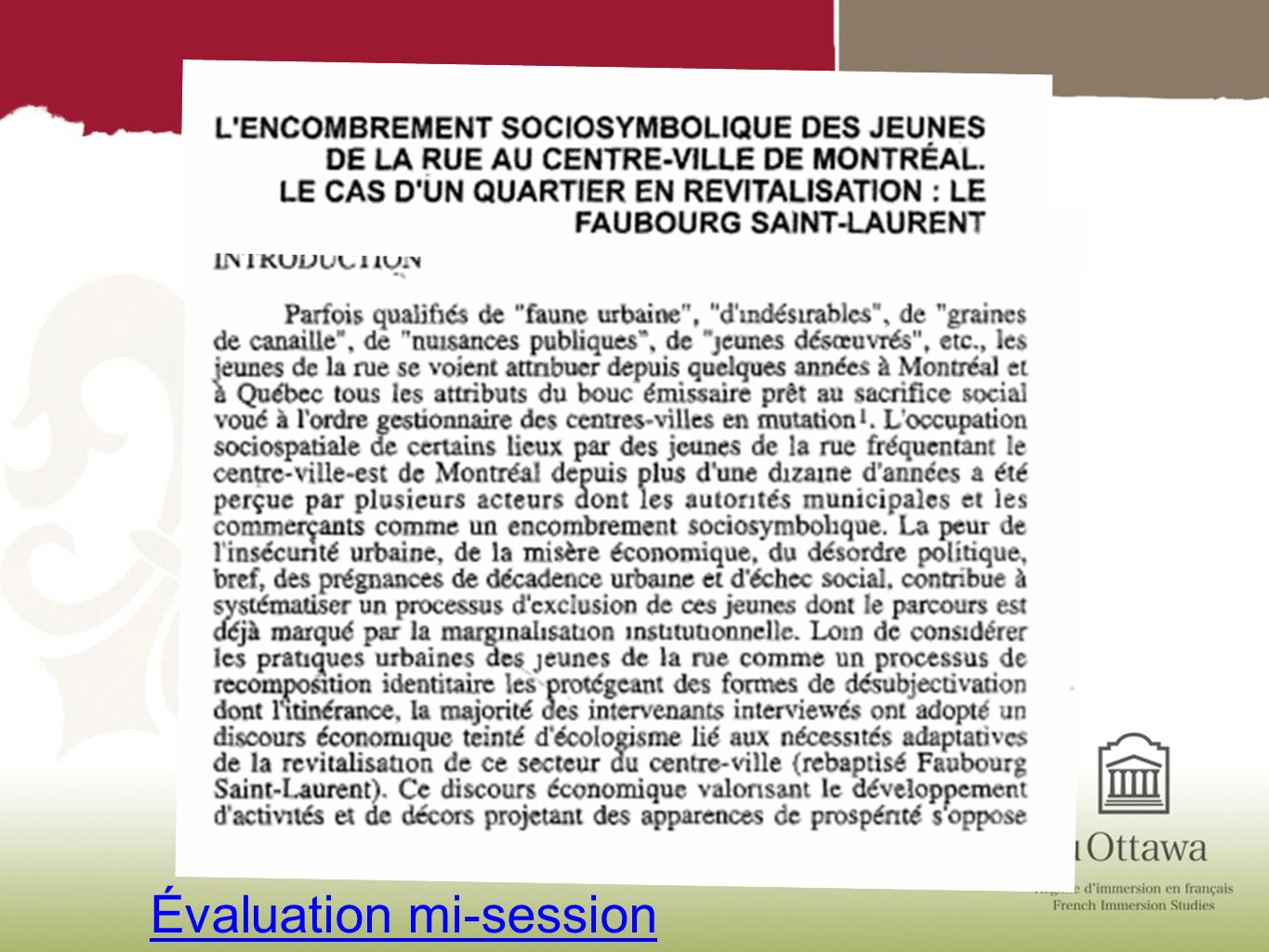 Évaluation mi-session