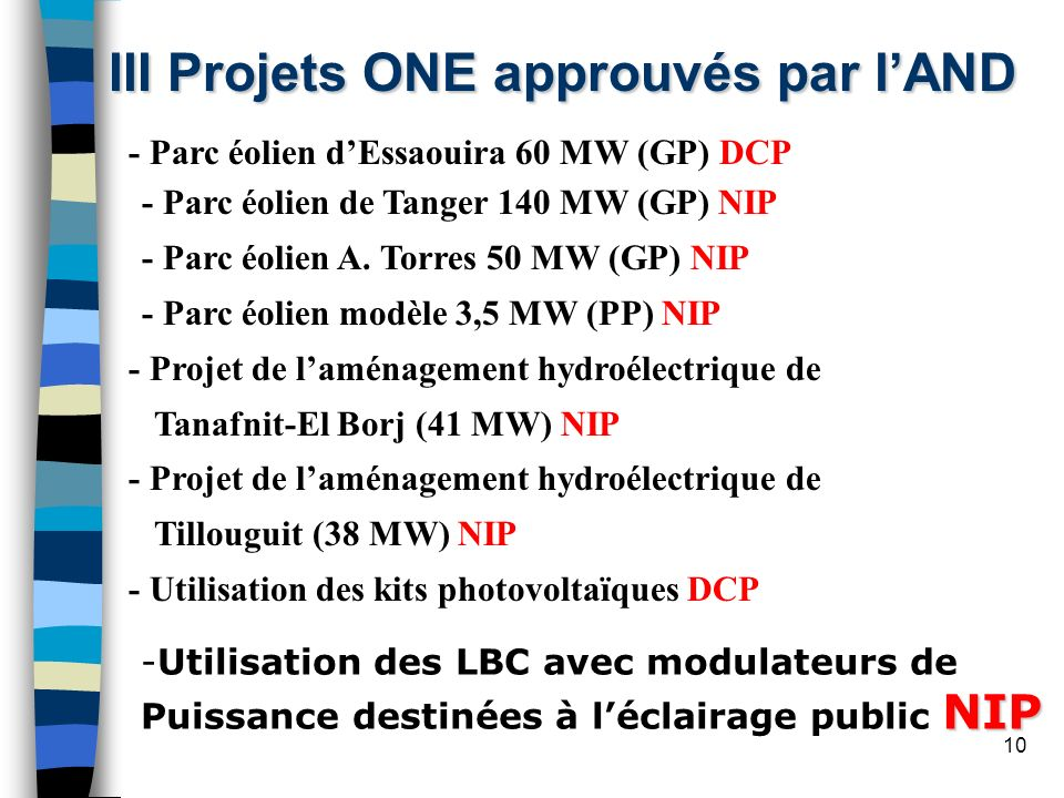 III Projets ONE approuvés par l'AND