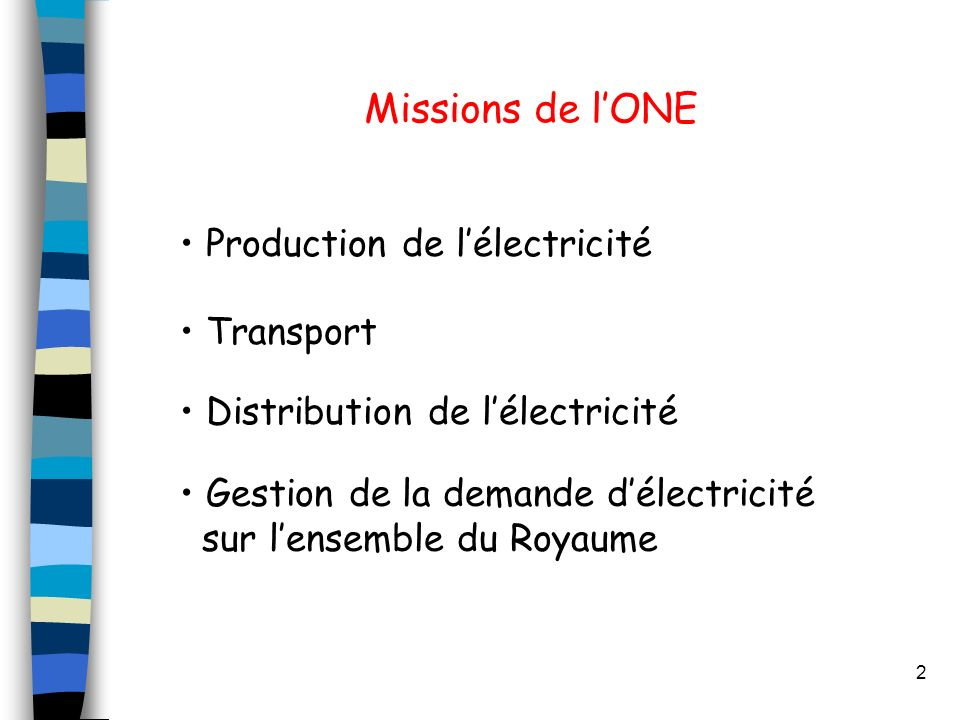 Missions de l'ONE Production de l'électricité Transport