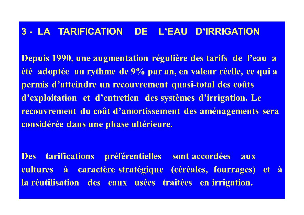 3 - LA TARIFICATION DE L'EAU D'IRRIGATION