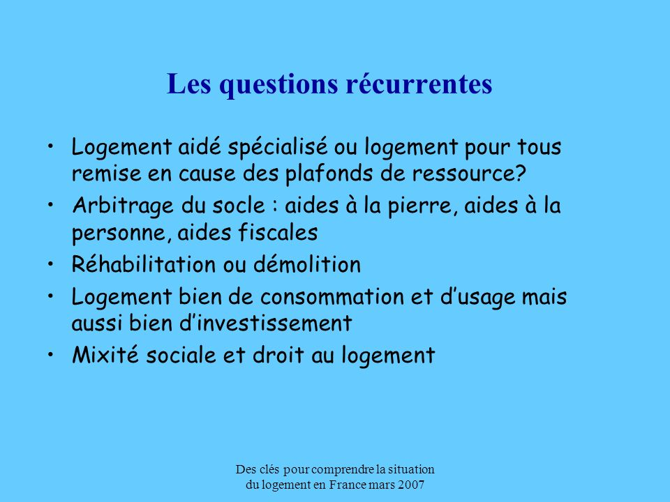 Les questions récurrentes