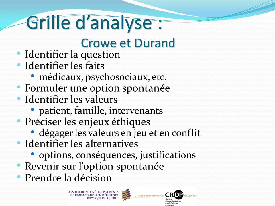 Grille d'analyse : Crowe et Durand