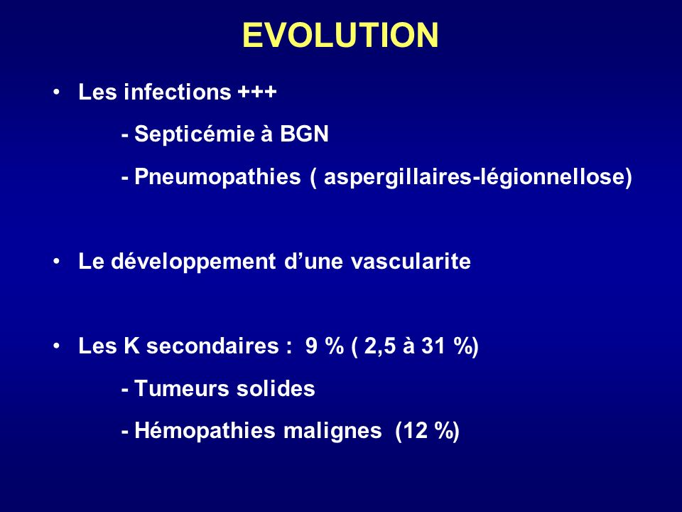 EVOLUTION Les infections Septicémie à BGN