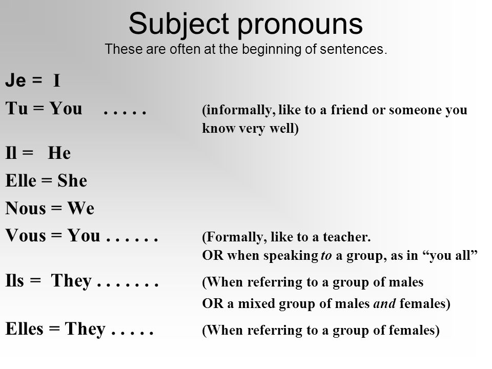 Subject pronouns These are often at the beginning of sentences.