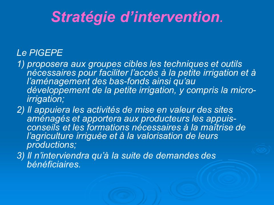 Stratégie d'intervention.