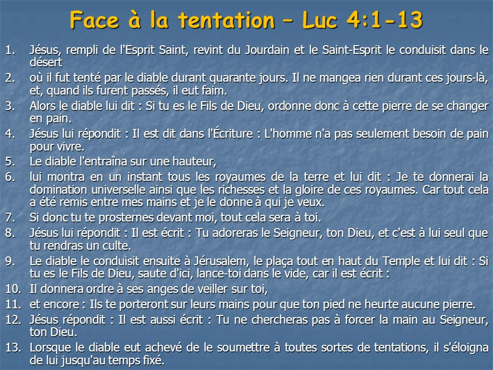 Face à la tentation – Luc 4:1-13