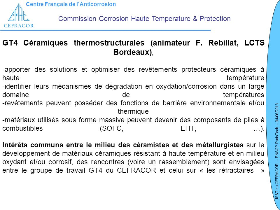 Commission Corrosion Haute Temperature & Protection