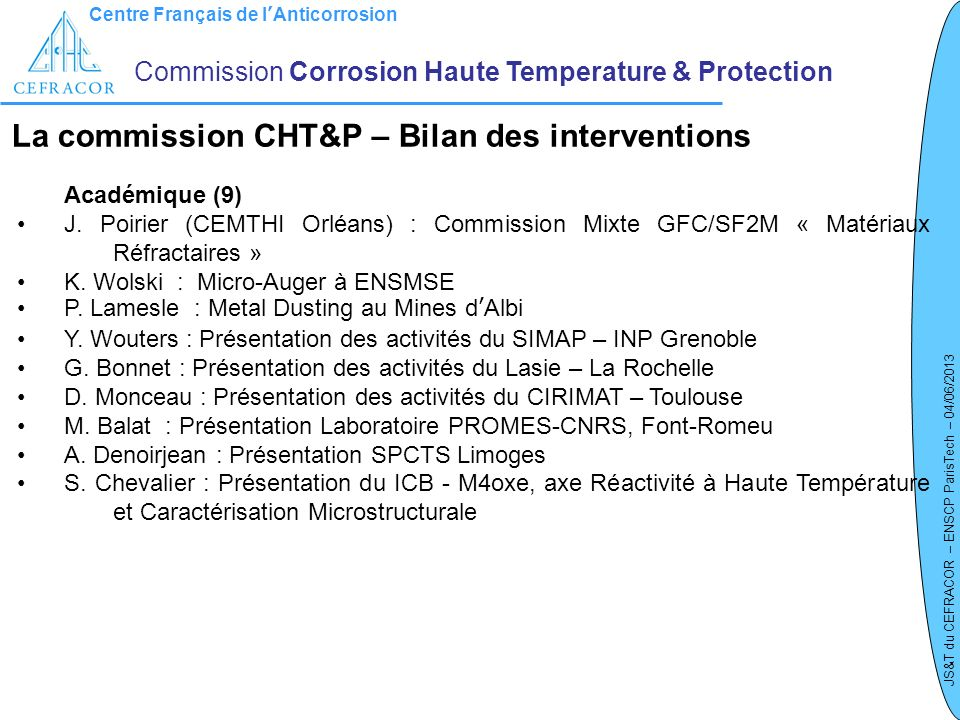 La commission CHT&P – Bilan des interventions