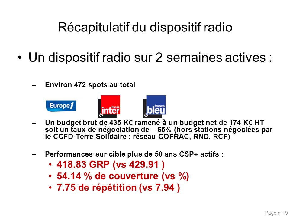 Récapitulatif du dispositif radio