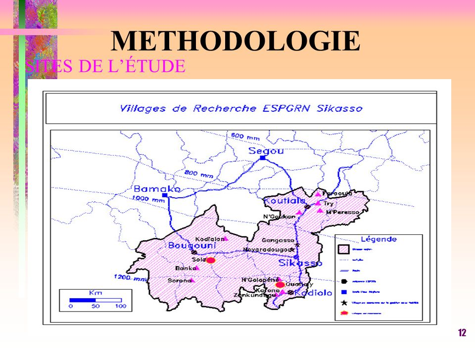 SITES DE L'ÉTUDE METHODOLOGIE